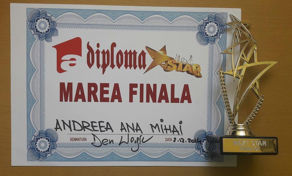 Andreea Ana Mihai, liceana premiantă și pasionată de muzică Finala Next Star